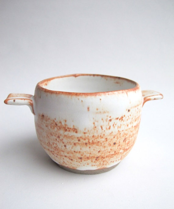 wabi-sabi orange speckle stoneware pot / bowl