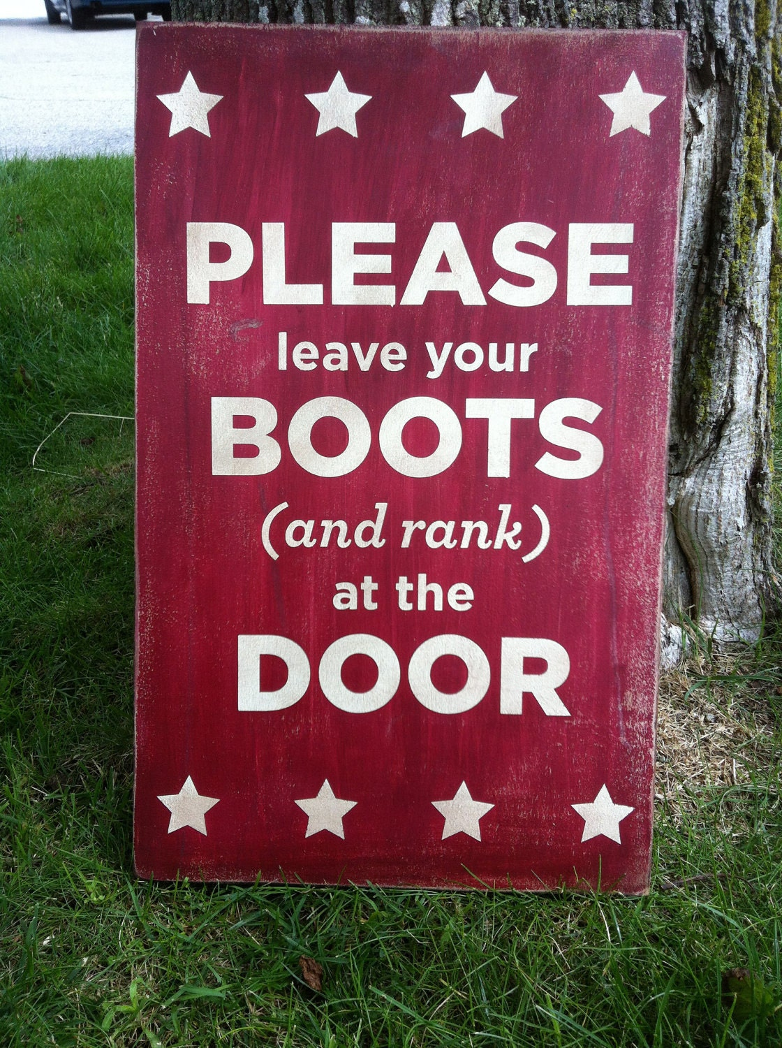 12x18 Leave Your Boots And Rank