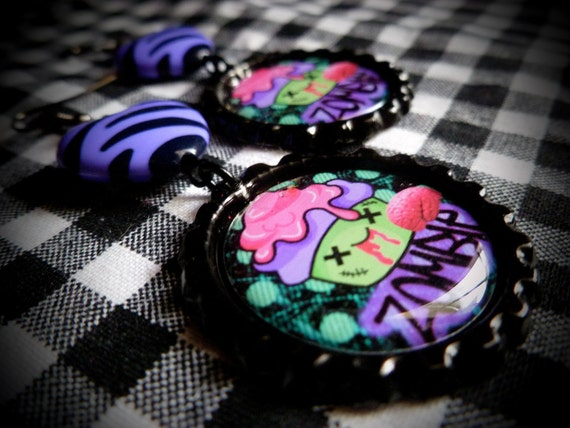 Zombie Cupcake earrings
