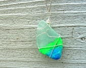 Sea Glass Necklace - Neon Ombre Dip-dyed Painted Pendant