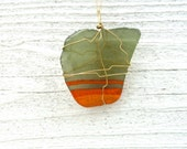 Sea Glass Pendant Necklace - Orange painted green glass