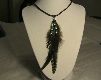 Two Feathers . Necklace.