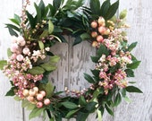 Pink Berries and Pink Rose Hips with Green Laurel Leaves Wreath