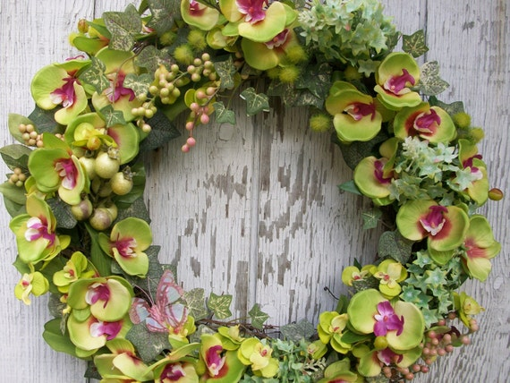 Spring Wreath, Green Cymbidium Orchid Wreath with Green and Pink Berries Wreath and Green Ivy Leaves Wreath