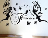 StickTak Stickers Custom Name Fairy Butterflies Stars Vinyl Sticker Wall Art Decal