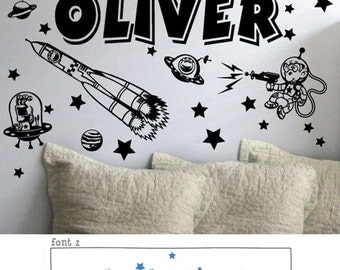 StickTak Stickers Large Custom Name & Outer Space Universe Vinyl Wall 34 Individual Stickers