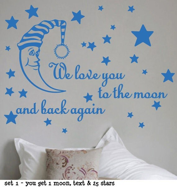 StickTak Stickers We Love You To The Moon & Back Again Vinyl Decal Nursery Kids Room Wall Sticker