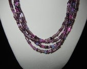 Necklace - 4 stranded in shades of purple