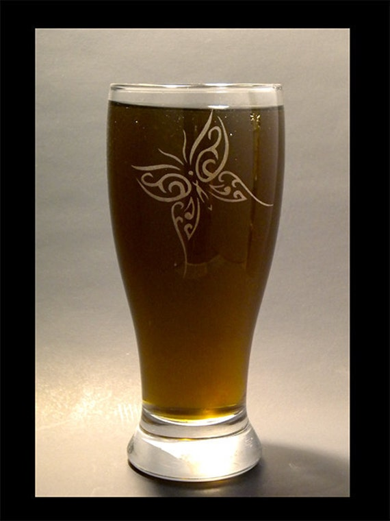 Etched Butterfly Pilsner Beer Glass