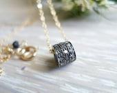 Pave Diamond Necklace - Oxidized Silver Rolo Pendant Diamond Choker Necklace - Fine Jewelry Necklace. April Birthstone.