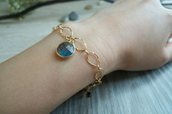 Labradorite Vermeil Rim Bracelet - Natural Blue Flash Faceted Labradorite Pendant Bracelet - Delicate & Beautiful