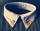 Vintage Hipster Style Blue Corduroy Suede Studded Collar Necklace