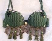 Belly dance bra in green