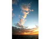 "Blue sky photo, Wide Angle Photo, Canvas Print, 10""x15"", Proffessional photo of clouds, Clouds- Sunset, Sunset At Caddebostan, Horizon Print"