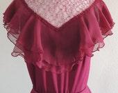 Vintage 1970's Victorian Style Burgundy Dress