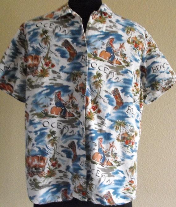 Vintage Western Hawaiian Shirt for Ladies by Panhandle Slim