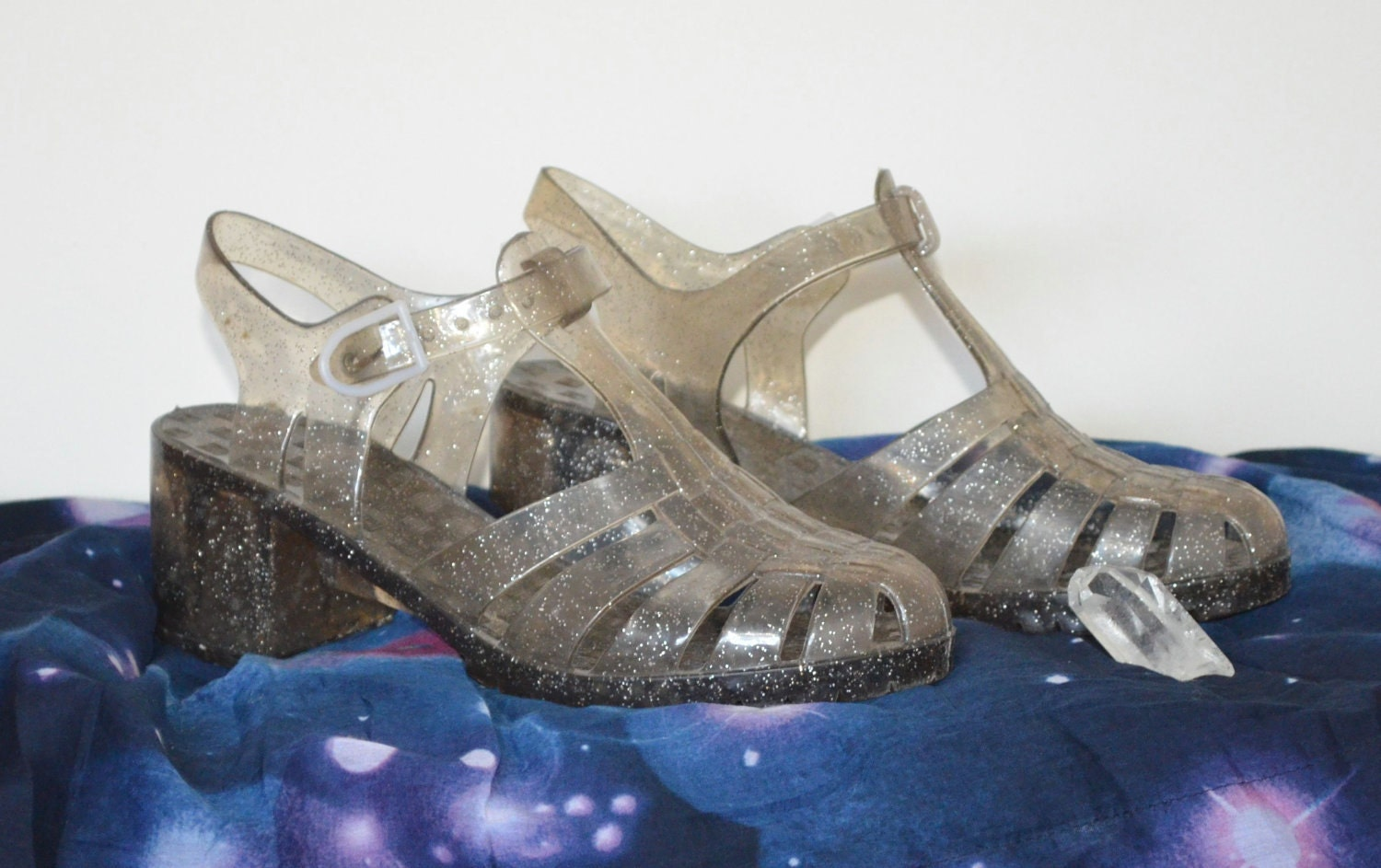 high heeled silver glitter jellies jelly sandals 1990s 7