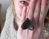 Oversized Ceramic Heart Ring Bronze Black Everyday Jewelry Adjustable Silver Plated Valentine Ring