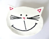 Valentine's Day Cat Ceramic Plate White Kitty Dish Animal Spoon Rest Eco Friendly