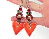 Red Ceramic Heart Long Dangle Earrings Kidney Ear Wires