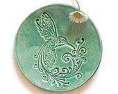 Ceramic Dish Bird Mint Plate Jewelry Dish Hummingbird Ring Holder Home Decoration Pottery