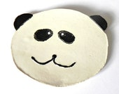 Baby Panda Ceramic Dish, White Black Plate, Eco Friendly Spoon rest - Ceraminic