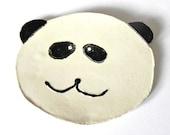 Baby Panda Ceramic Dish, White Black Plate, Eco Friendly Spoon rest - Ceraminic