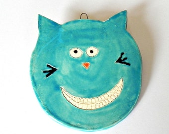 Ceramic Teal Cat Ornament Turquoise Animal Pottery Smily Face For Kids with White Teeth