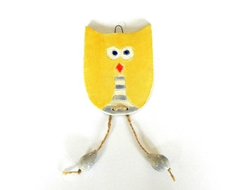 Yellow Modern Owl Ornament, Ceramic