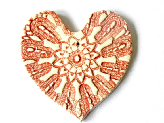 Rustic Red White Ceramic Heart Ornament, Decorated with Vintage Lace, Summer Fashion