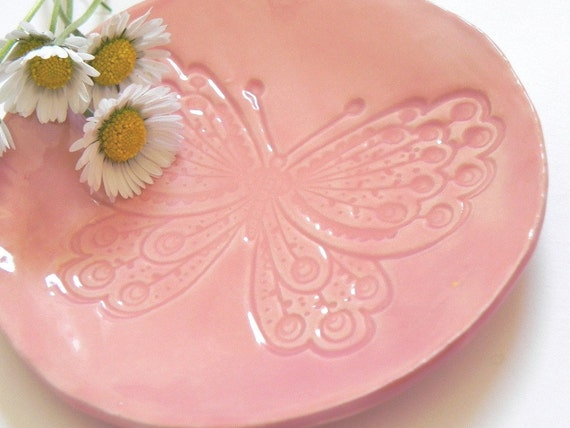 Butterfly Ceramic Plate, Pink Dish, Animal Ring Bowl, Eco Friendly Material in a Recycled Paper Box