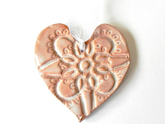 Mother's Day Rustic Ceramic Heart  White Painted Red Clay Ornaments with Lace Pattern Eco Friendly Home Decoration
