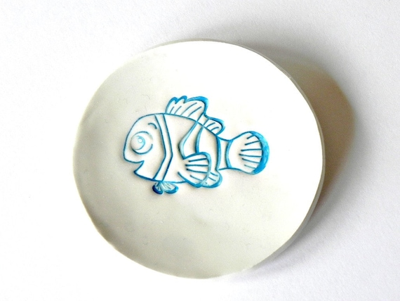 White Ceramic Fish Plate Turquoise Pottery  Decoration Smal  Soap Dish Round Ring Holder