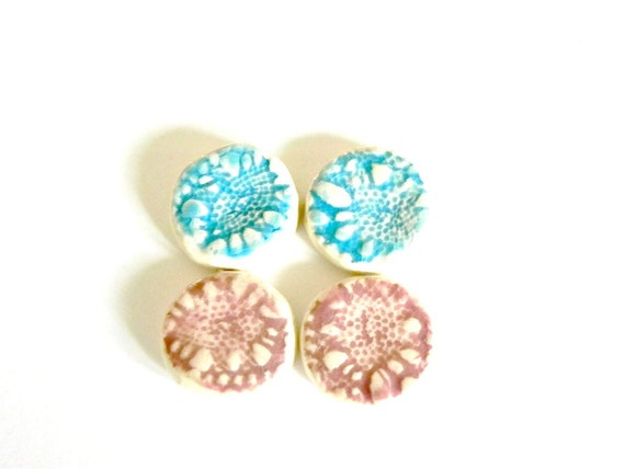 Round Ceramic Blue Pink Mosaic Tile Jewelry Supplies Flower Lace Top