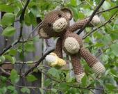 Amigurumi Monkey With Banana crocheted toy