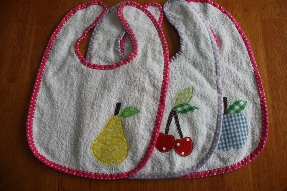 Bibs- Set of 3 -Terrycloth baby bib with apple, cherry, pear applique-Free Shipping in the U.S.