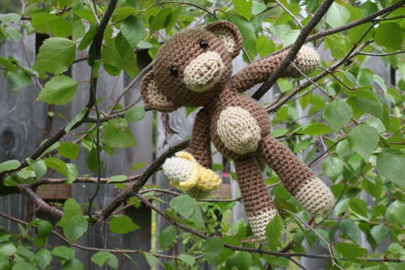 Amigurumi Monkey With Banana crocheted toy