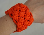 orange bracelet / cuff - upcycled t-shirt yarn -  free shipping