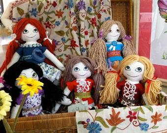 Vintage-style Rag Doll Cloth Doll