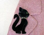 Black Cat Velvet 50's Inspired Velvet Broach