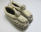 Cozy Soft Organic Hand-Knit Wool Slippers