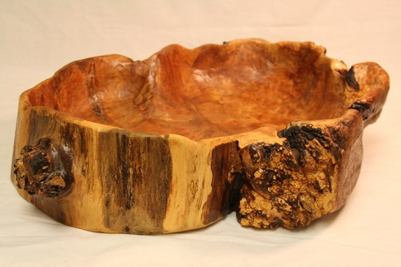 Rustic hand carved maple burl bowl