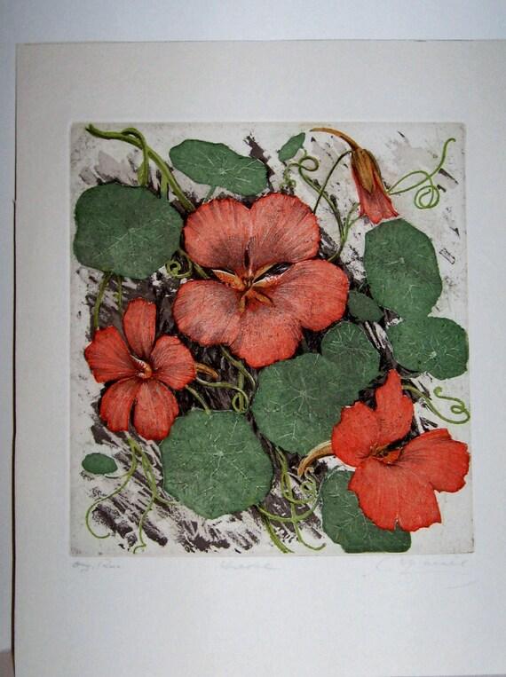 Vintage Austrian Floral Signed Engraving