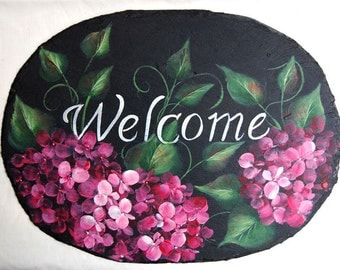Hand Painted Pink Hydrangea Slate on Black