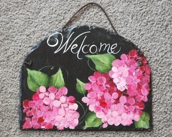 Pink Hydrangea Welcome Slate
