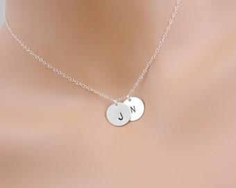 Custom Two Initial Necklace, SILVER Monogram Necklace, LARGE Disc charm, Mother jewelry, Friendship, Sisters, Personalized, Couples necklace