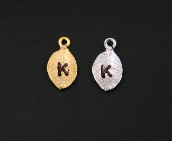 Add Initial Leaf GOLD or Silver on Necklace or Bracelet