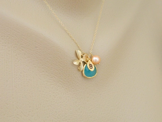Personalized Initial Necklace, Gold Charm Necklace, Bridesmaid Gift, Mother's Day Necklace, Bridesmaid Jewelry, Monogram Necklace, Mom Gift