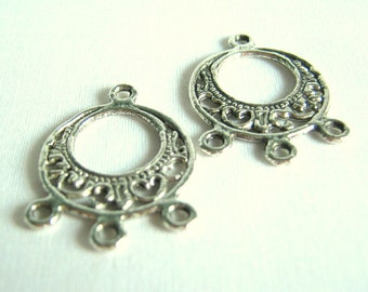 silver tone chandelier earring findings - two pairs