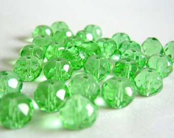 lime green faceted glass rondelles - 5.5mm - 50 beads